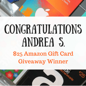 Winner of the Living Simply Fabulous Amazon Gift Card Giveaway announcement.