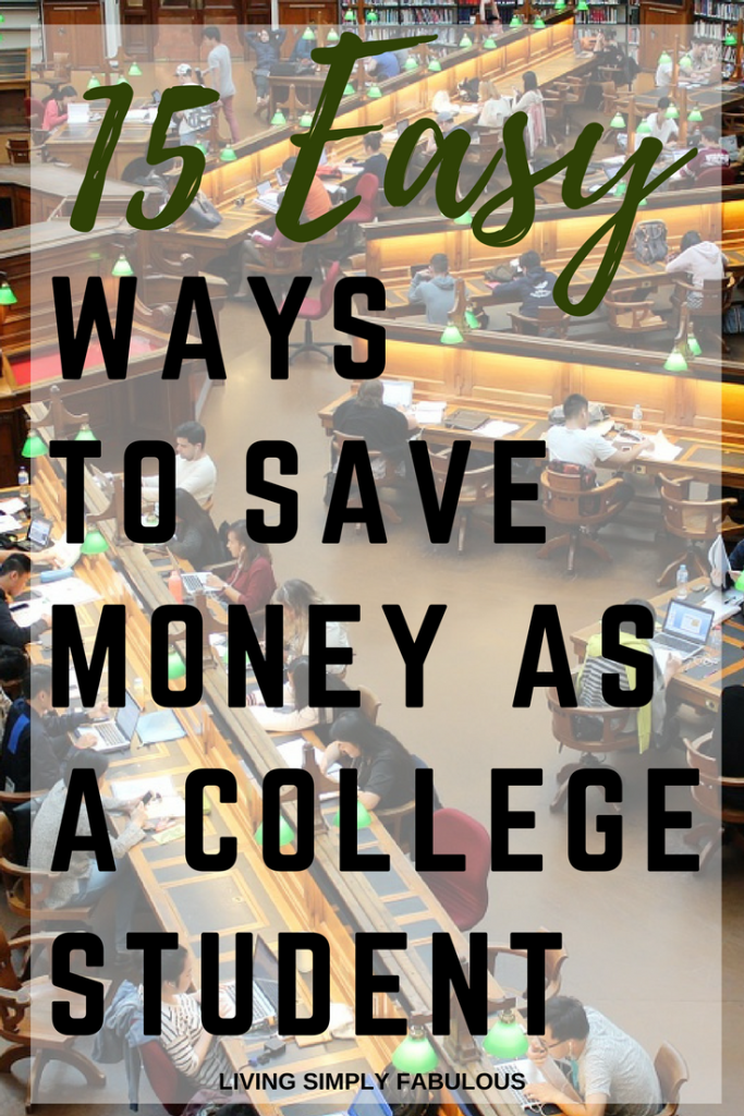 College is expensive. In addition to having to pay for tuition and books, there's this thing about living expenses you have to deal with. Here are 15 easy ways to save money as a college student, so you can stay out of debt and actually enjoy getting your degree.