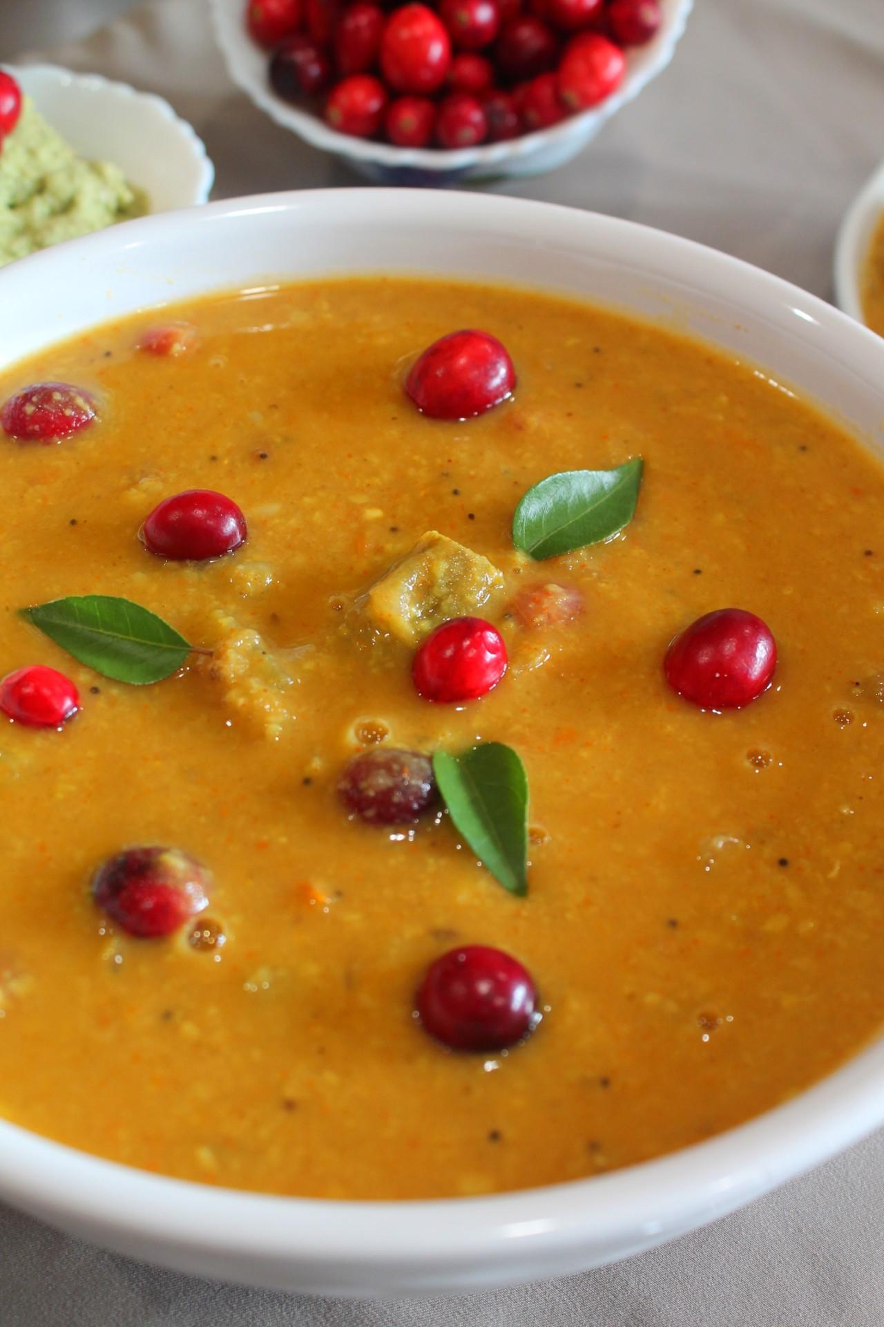 Cranberry Sambar – Instant Pot, Stove Top