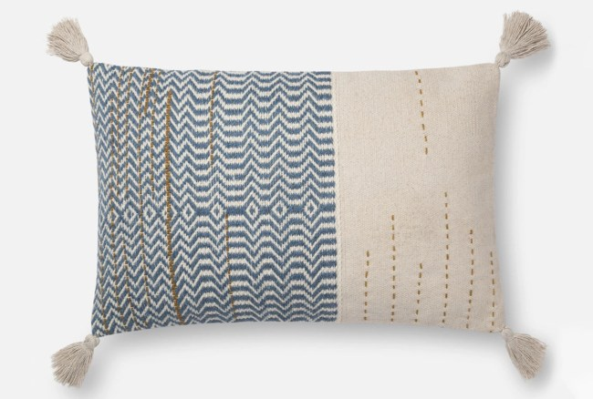 Accent Pillow-Magnolia Home Zig Zag Tassels Ivory/Blue