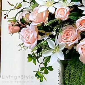กุหลาบเจนนีสีชมพูอ่อน แซมดอกคอนฟาวเวอร์สีขาว 3