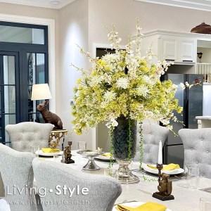 แจกันดอกไม้ แจกัน โต๊ะอาหาร โต๊ะกินข้าว ดอกไม้ปลอม แต่งโต๊ะอาหาร 01