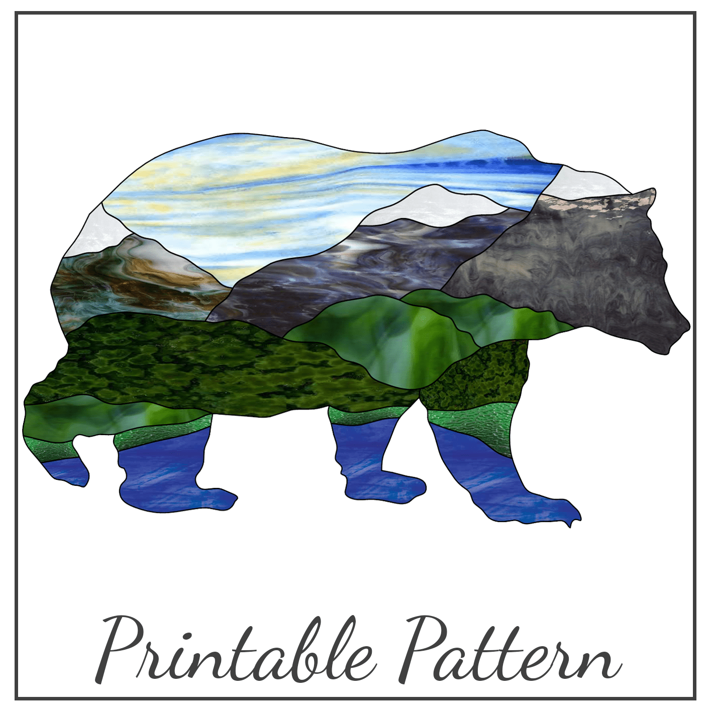 Stained Glass Pattern Grizzly Bear
