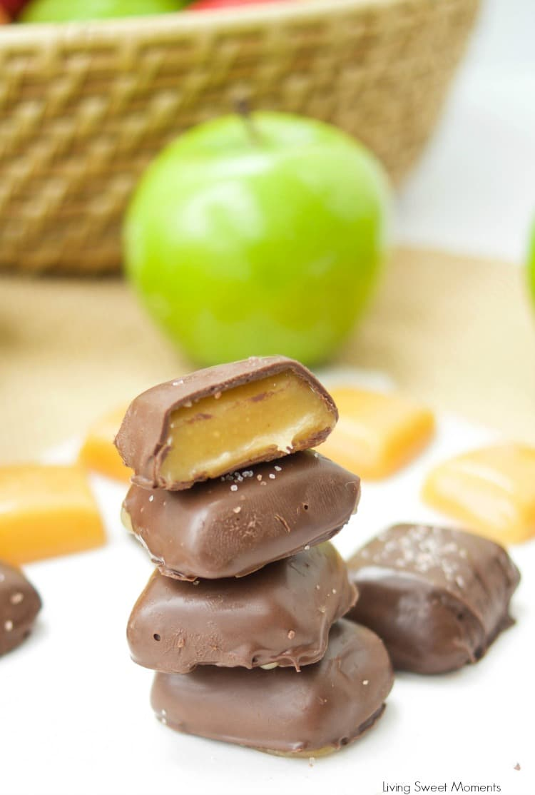 Chocolate Covered Apple Cider Caramels Recipe | Living Sweet Moments - This chocolate covered Apple Cider Caramels recipe is easy to make. The perfect fancy dessert for fall. Made with reduced apple cider for a deeper taste.