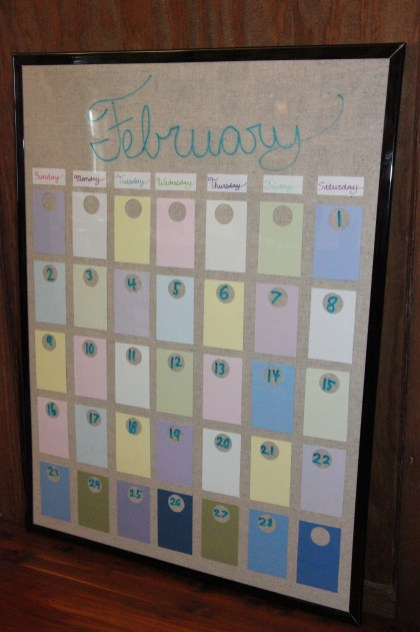 The finished product. A custom dry-erase calendar in pretty pastels. This will look just perfect in Emry's bedroom.