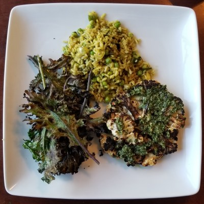Grilled Cauliflower with Chimichurri Sauce