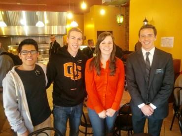 Elder Lopez, Elder Mortenson, myself, and Elder Smith at lunch.