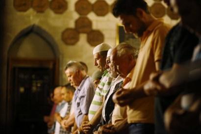 Muslims attend Taraweeh prayers (an extra communal act of worship during Ramadaan) at the Bajrakli mosque in Belgrade, Serbia, on July 9, 2013