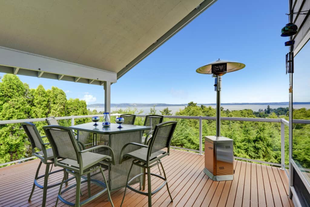 a patio heater under a covered patio