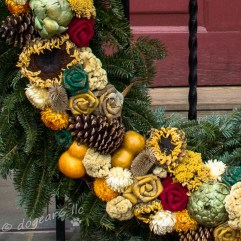 Dried sunflowers, gourds, cloth flowers