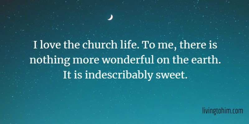 I love the church life. To me, there is nothing more wonderful on the earth. It is indescribably sweet.