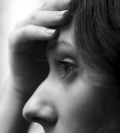 problem pensive girl at window profile sad black and white