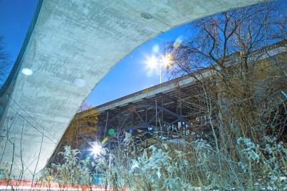 Under Rosedale Ravine bridge in Toronto.