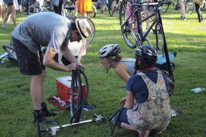 Bike tire repair.