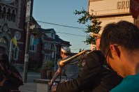 Bike trumpeter.