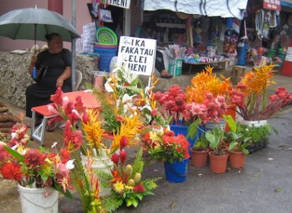 Flower vendor in Tonga market.