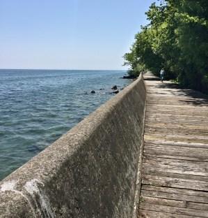 Boardwalk and bicyclist on Toronto Island.