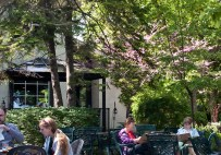 Sitting on the Rectory cafe patio.