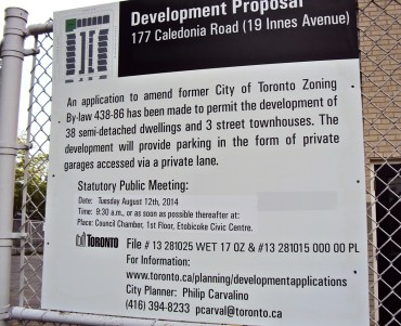 Development proposal sign.