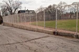 Athletic field fence, looking toward Rosemount.