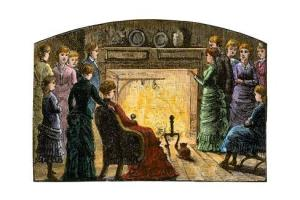 In the olden days, people gathered in front of the hearth