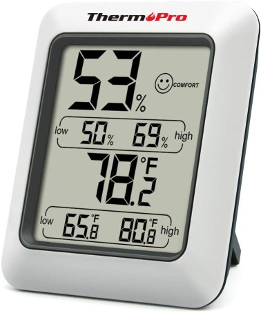 Image of a £10 monitor called a Hygrometer. This measures the humidity and temperature of a room.