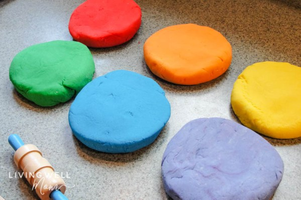 colorful natural homemade playdough activity for kids