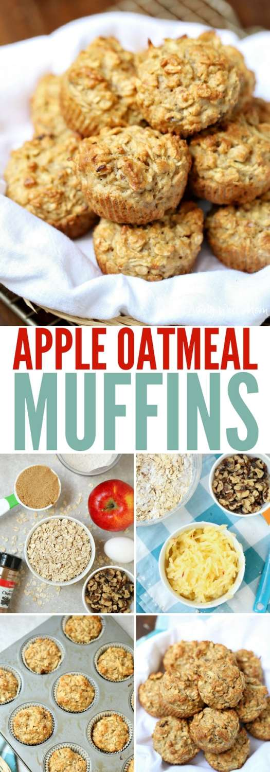 Apple Oatmeal Muffins - this simple muffin recipe is both mom and kid-approved because it's delicious without a lot of sugar. It's a great snack for school or after school. Make ahead and freeze too!