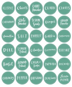 spices printable labels