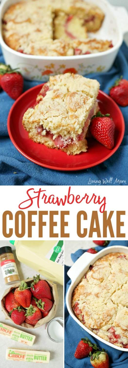 With a burst of sweet strawberry flavor in the center, this Strawberry Coffee Cake is the perfect mid-morning summer snack. And unlike many morning pastries, this recipe isn't too sweet either.