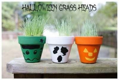 Halloween Grass Heads craft for kids