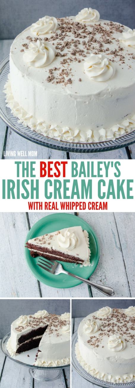 The BEST Bailey's Irish Cream Cake recipe - The mouthwatering chocolate cake and flavorful real whipped cream frosting are so light, you'll have a hard time saying no to a second piece of this delicious dessert!