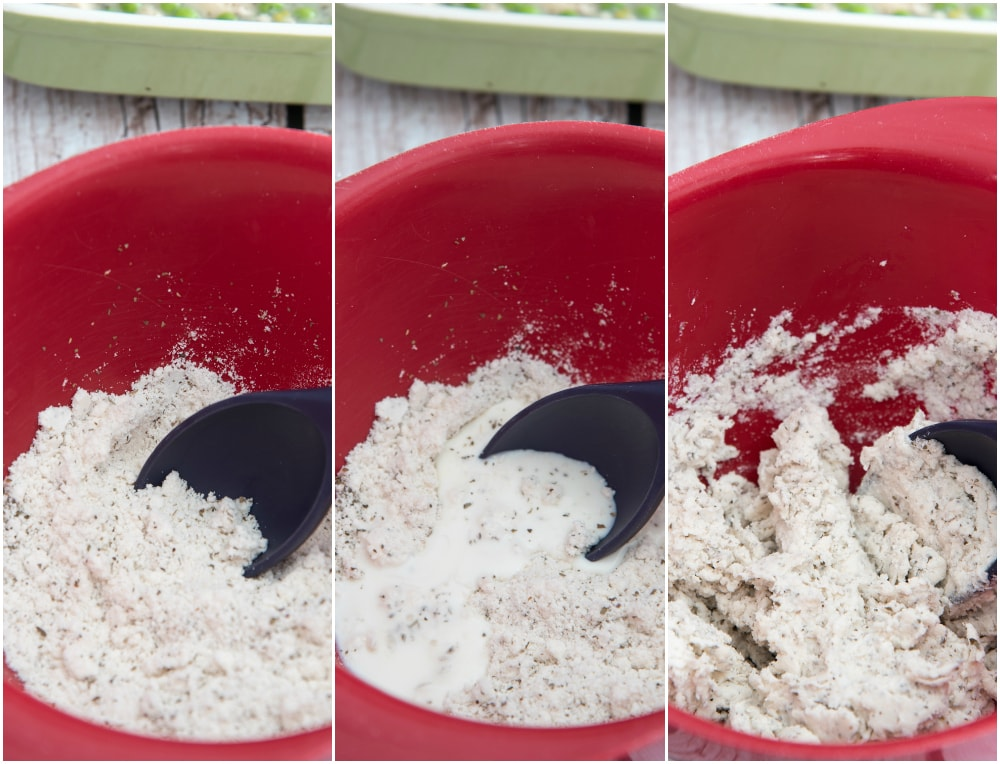 mixing dumplings