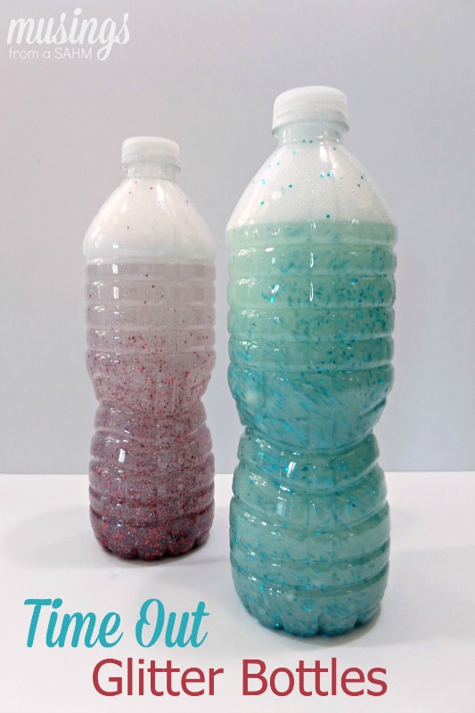 DIY Time Out Glitter Bottles are so easy to make, you can make one for each child with their favorite colors. Plus they're great for quiet time too!