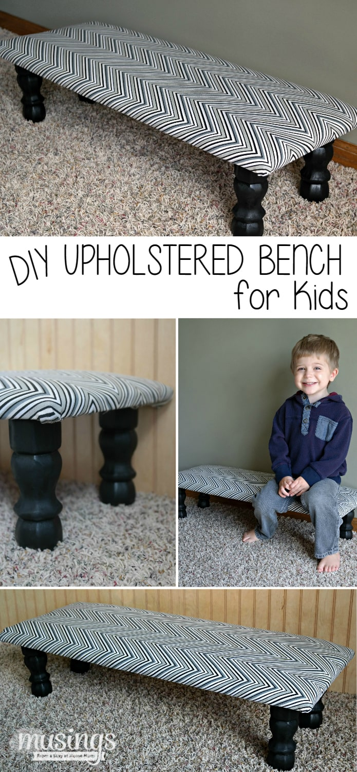 This upholstered DIY bench for kids is easy to make and affordable!