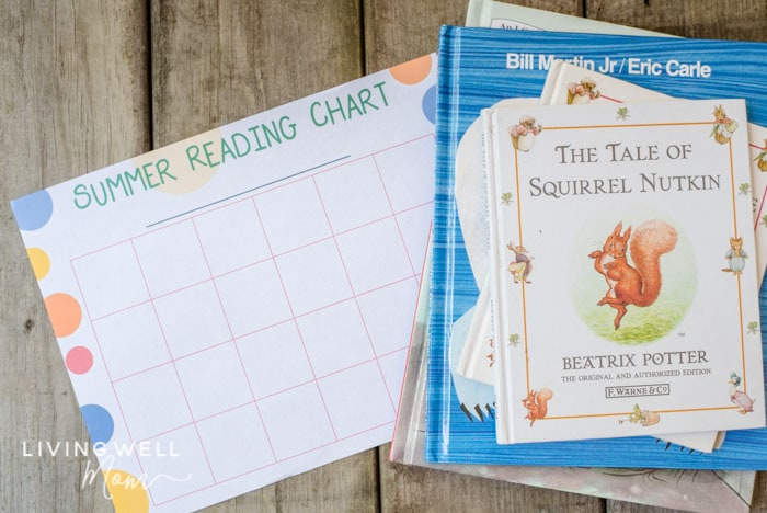 free printable reading log for kids with books