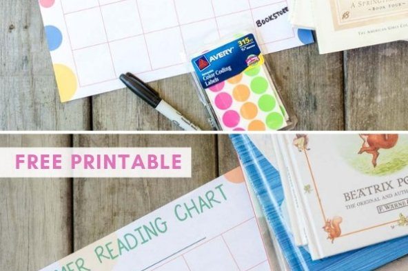 summer reading chart program for kids printable with books