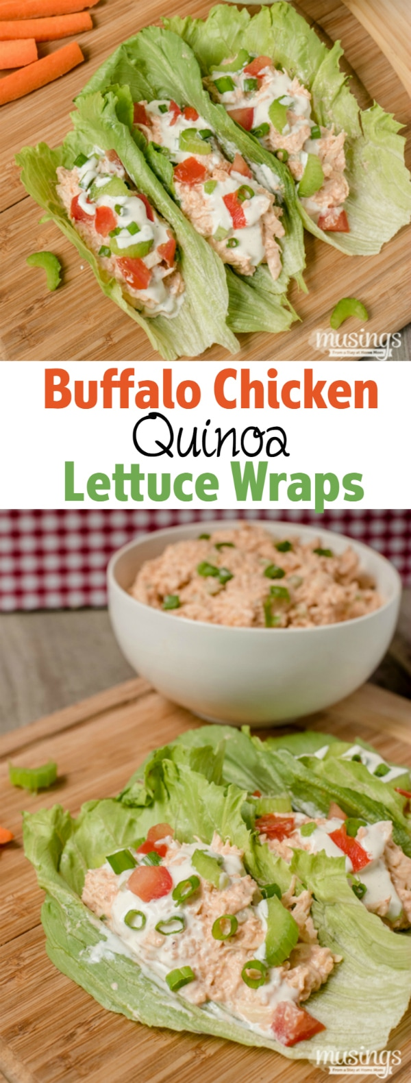 Buffalo Chicken Quinoa Lettuce Wraps are a perfect lunch or quick and easy dinner; you'll love how spicy and tangy this deliciously low carb recipe is!