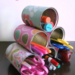 Decorated Tin Can Organizer for Kids