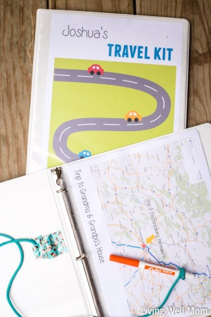 white travel binder with printable maps and dry erase marker for kids