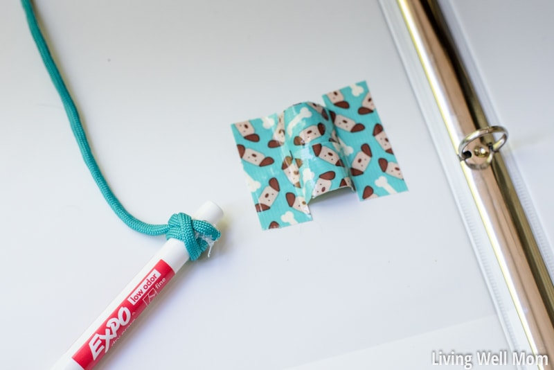 road trip binder with red marker attached