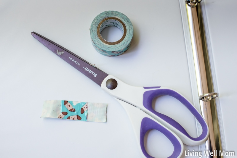 road trip binder supplies - scissors washi tape