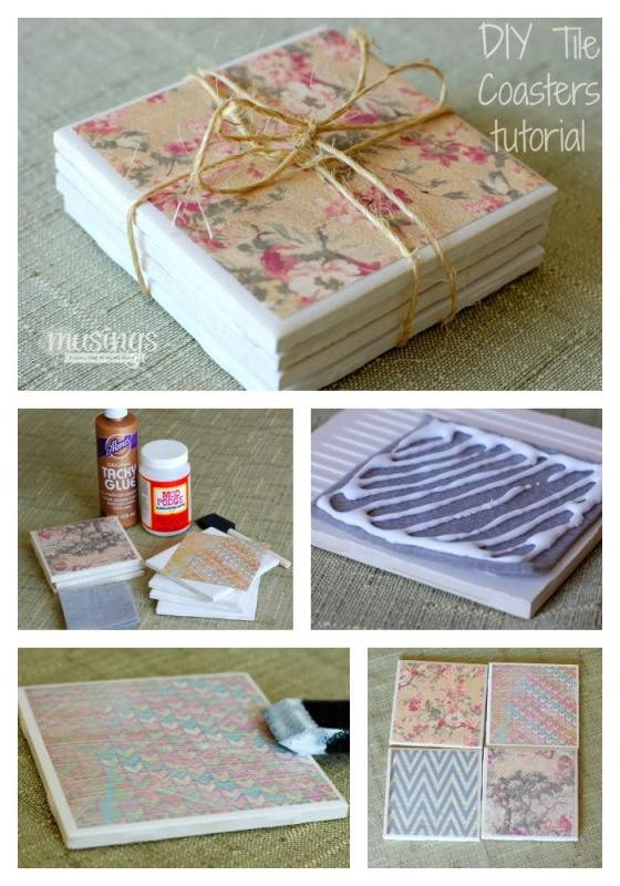 You'll love how easy these inexpensive DIY Tile Coasters are to make, plus you can personalize them with color/decor to match any room. They're a great homemade gift idea too!