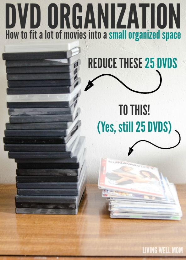 Tired of your DVDs taking up so much space or not being able to find the movie you want? Don't miss this efficient idea for easy DVD organization; you'll be able to fit ALL your movies into a small organized space!