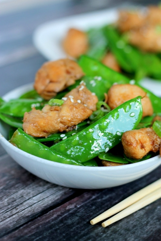 This tasty recipe for Ginger Chicken and Snowpeas is easy to make and ready in less than 20 minutes - a delicious dinner after a busy day!