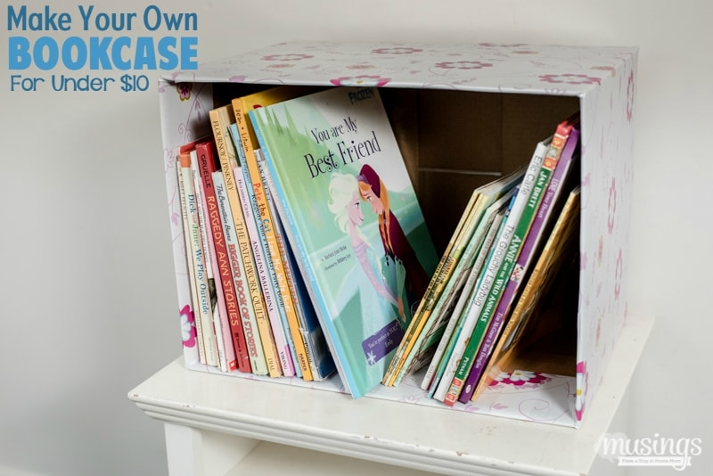 The simple way to make your own inexpensive bookcase out of materials you probably have around the house. (No DIY skills required!)