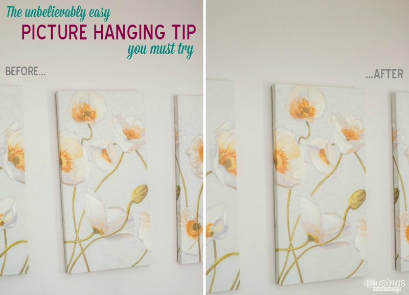 The unbelievably simple picture hanging tip you MUST try: the easy way to keep canvases, paintings, pictures & and more hanging evenly on your wall!