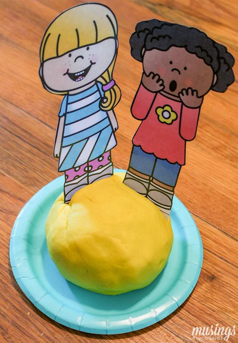 Download a free printable emotions pretend play set, perfect for playdough fun or sensory bin play! This fun kids' activity is a great way for children to learn about emotions.