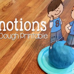 Play dough fun with a free printable pretend play set for learning about emotions.