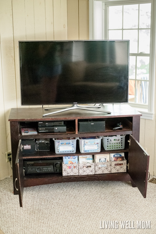 DVD storage in sleeves and bins inside TV cabinet in living room